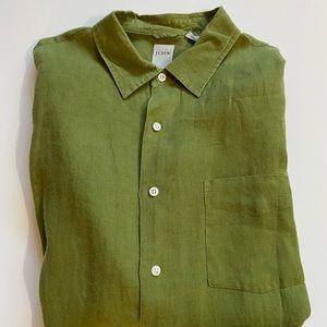 J. Crew Green Olive Long Sleeve Linen Shirt Large